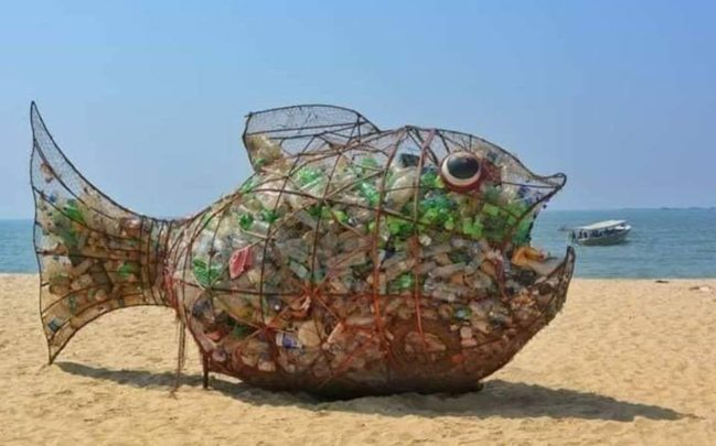 Goby the plastic eating fish sculpture